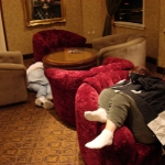 sleepers in the lobby at 4a.m.